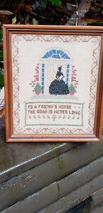 Vintage-Antique-1930-Framed-Sampler-Cross-Stitch-Embroidery-Needlework-Friend