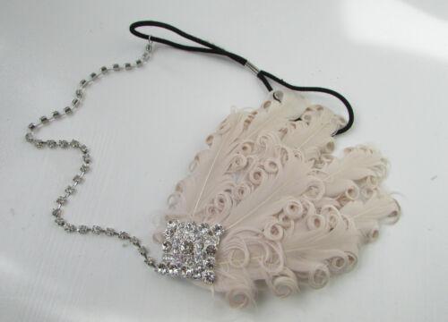 Feather Headband Headpiece 1920s Great Gatsby Flapper Silver Fancy Dress 30s Y36