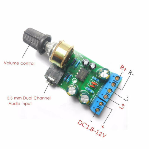 DC1.8-12V TDA2822M Amplifier 2.0 Channel Stereo 3.5mm Audio Board ModulSN
