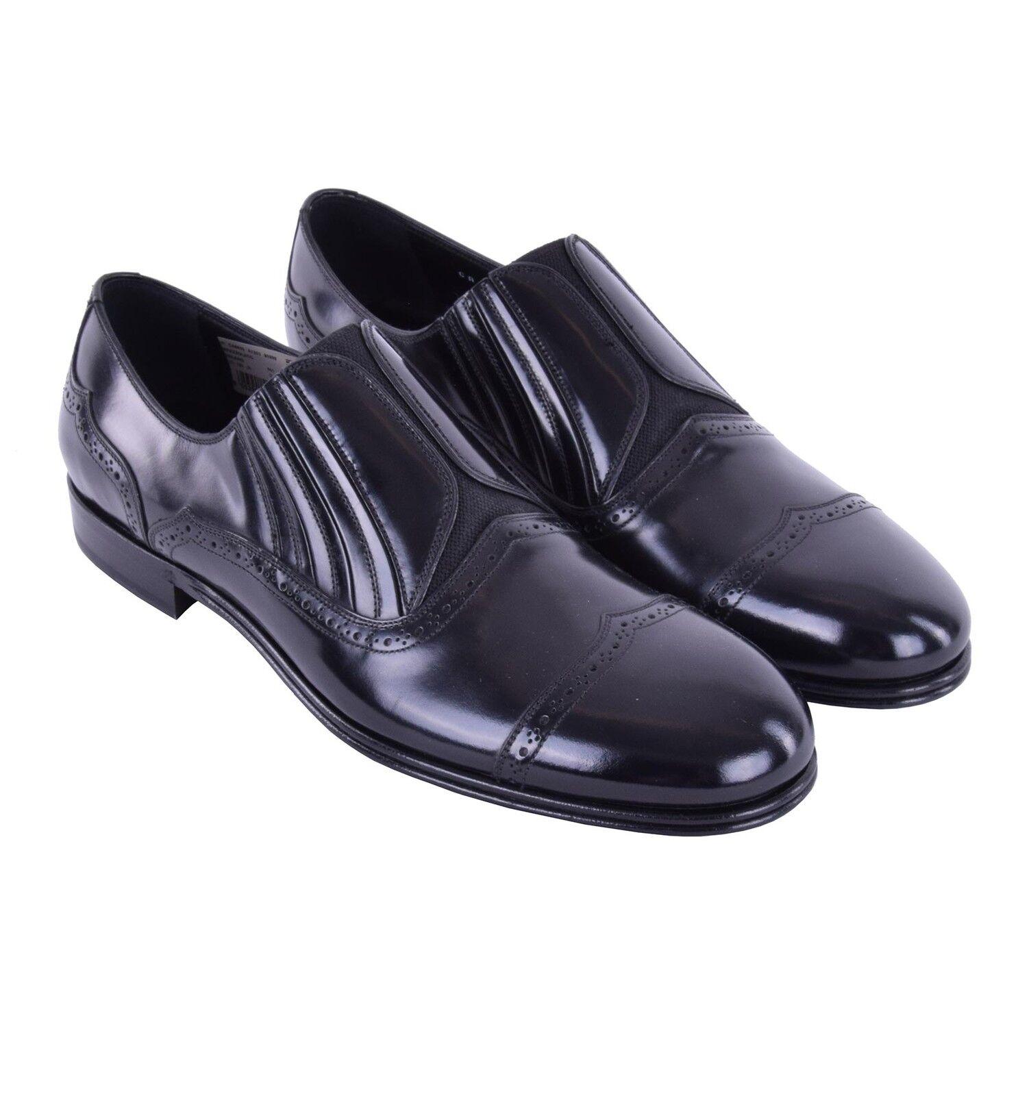 DOLCE & GABBANA Elastische Glattleder Loafer Schuhe MILANO Schwarz Shoes 05188