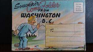 VINTAGE-SOUVENIR-COMIC-FOLDER-FROM-WASHINGTON-D-C-1940-039-s-Post-Card-Fold-Out