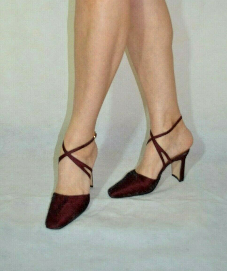 Ladies Burgundy Sandals Elegant Block Heel Strap Cross Ravel Size 4