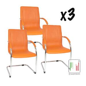 Sedie Da Ufficio Arancione.Set 3 Sedie Ufficio Ergonomica Attesa Slitta Fintocuoio Milano