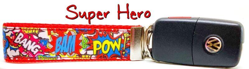 "Hearty Super Hero Key Fob Wristlet Keychain 1""wide Zipper Pull Camera Strap Online Shop"