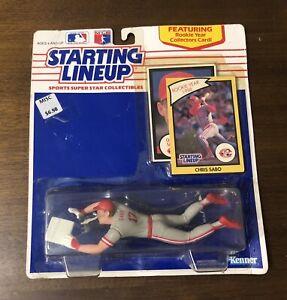 Chris Sabo Starting Lineup Figure 1990 Rookie w/ Cards Unopened Cincinnati Reds