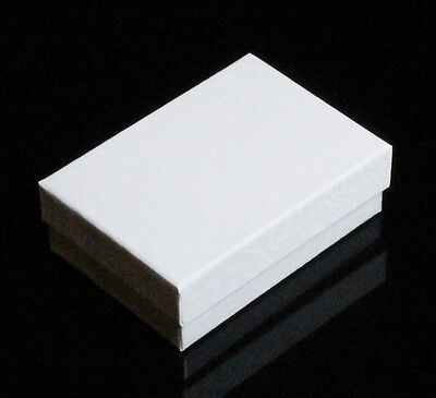 """COTTON FILLED JEWELRY BOXES LOT OF 12 WHITE  3 1/4"""" X 2 1/4"""" X 1"""""""