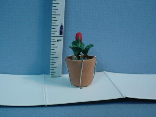 Miniature Red Rose Bud in Clay Pot #A135 Bright Delights 1//12th Scale