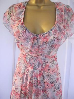Warehouse Poppy Ditsy Chiffon Floral Frill Tea Dress 12