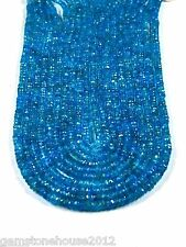 Z-0101/1 Natural Semi Precious Gemstones Neon Blue Apatite Faceted 4mm Beads
