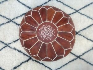Moroccan Leather Poufs Floor Pouf