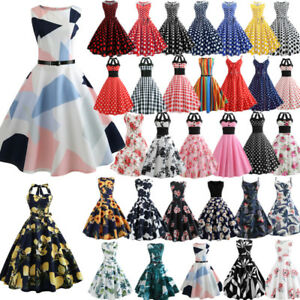 e92591c08631 UK Women's Vintage 1950s Polka Dot Rockabilly Evening Prom Swing ...