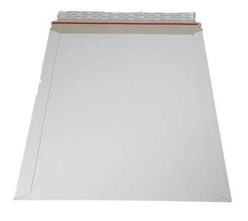 50 11x13.5 Stay Flat Rigid Mailer Cardboard White Envelope Photo 450GSM