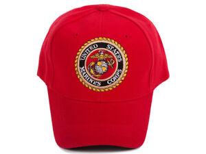 Military-USMC-Eagle-Emblem-Red-Adjustable-Cap