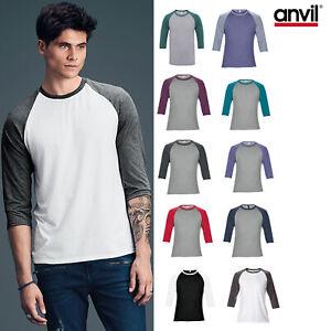 Mens 3//4 Sleeve Raglan T Shirt Baseball Plain Casual Slim Fit Tri Blend Crew Tee