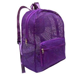 Mesh Foldable Backpack See Through School Book Bag Beach Hike Travel Gym Daypack