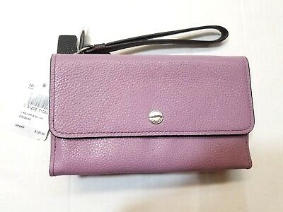 580b70757584 NWT Coach 29911 Colorblock Pebble Leather Triple Wristlet Jasmine Purple   125