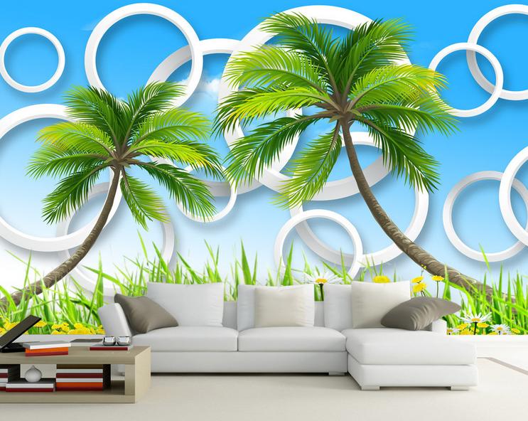 3D Kokosnussbaum Garten 764 Tapete Wandgemälde Tapete Tapeten Bild Familie DE  | Schön In Der Farbe  | Spaß  | Günstige