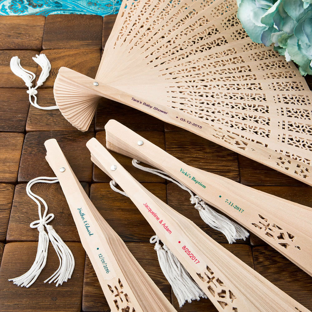 350 Personalized Sandalwood Fans Outdoor Bridal Shower Tea Party Wedding Favors