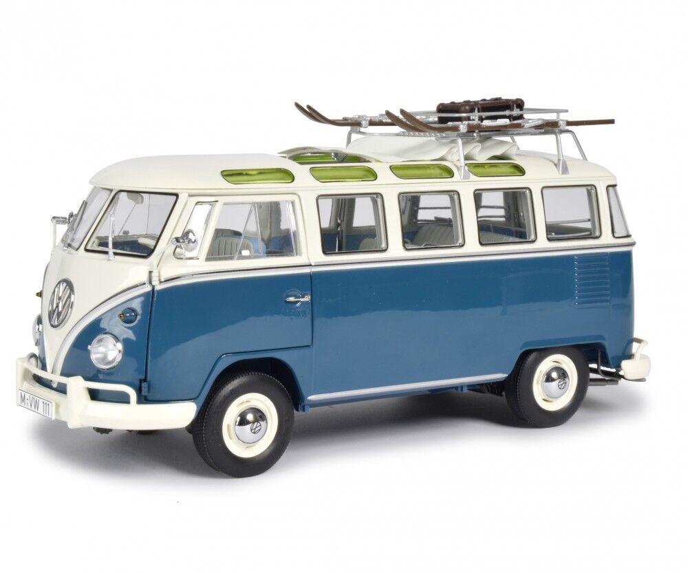 Schuco 1 18 Volkswagen T1b Samba Deportes De Invierno blu biancao 450037600