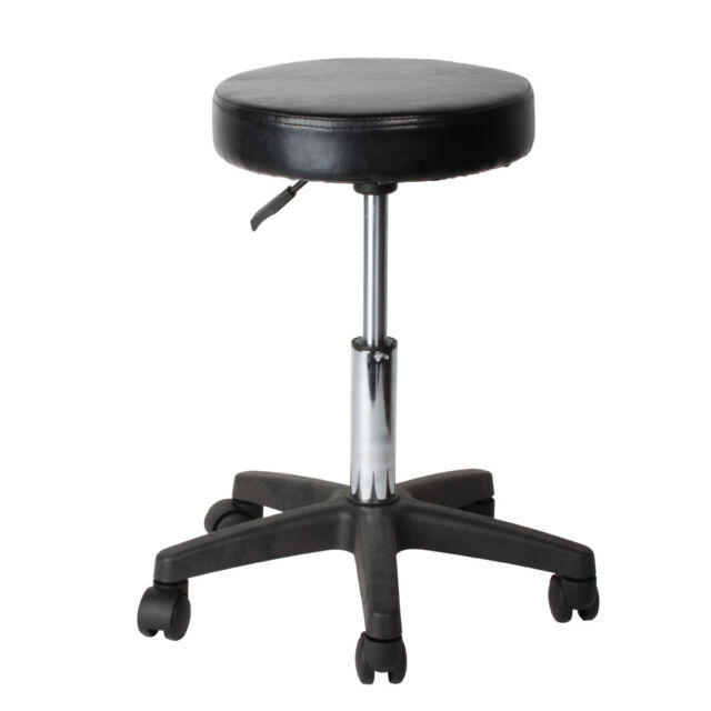 Rolling Swivel Stool Pneumatic Work Chair Adjustable Height With Casters  Wheel 360 Degree Rotation For Home Office Salon Massage Table Black