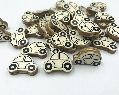 NEW  Natural Wooden Car shape Loose Beads for Jewelry Making Pacifier Clip 25mm