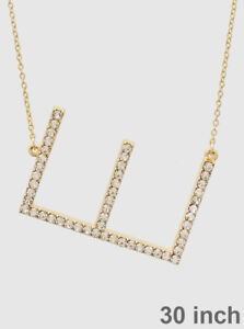 Large sideways initial necklace long chain rhinestone letter e image is loading large sideways initial necklace long chain rhinestone letter aloadofball Image collections