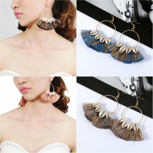 NEW Fashion Women Bohemia Shell Tassel Earrings Fan Dangle Earrings Jewelry Gift