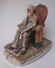 Large Vintage Capo de Monte figurine Stamp Collector rare signed