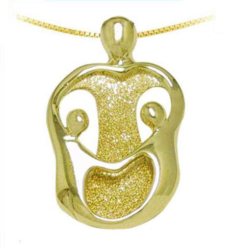 14K Yellow GOLD Mother /& 2 Children Pendant Loving Family Necklace