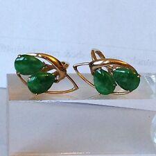 14k Vintage Green Jade Solid Gold Earrings