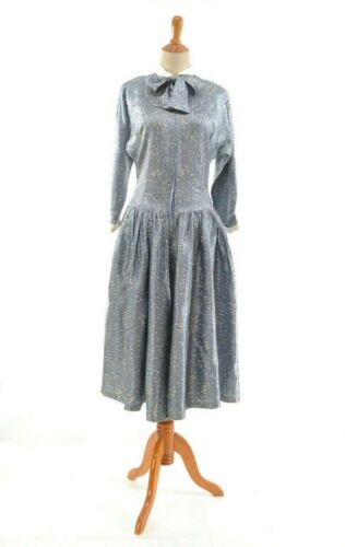 Size M TRUE VINTAGE 1940s grey blue dress 40s cost