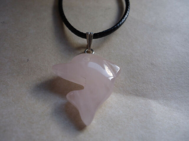 Rose Quartz Gemstone Dolphin Pendant with Silver Bail & Black Cord(PD-S36))
