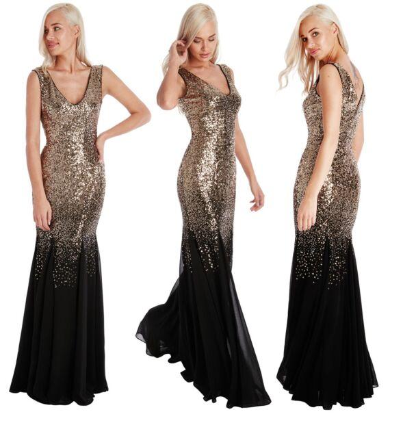 Black Sequin Chiffon Dress