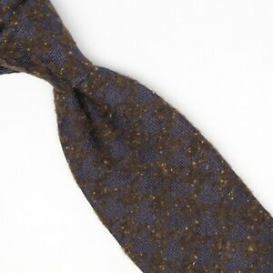 Josiah-France-Mens-Wool-Silk-Neckie-Navy-Blue-Brown-Houndstooth-Donegal-Tie