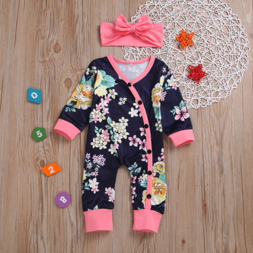 Newborn Baby Girls Romper Jumpsuit Bodysuit Infant Headband Clothes Outfits Set
