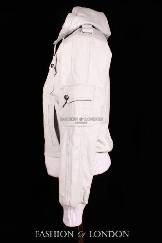 Men/'s Lockheed à capuche blanc court Aviator Bomber Pilote Veste en cuir d'agneau