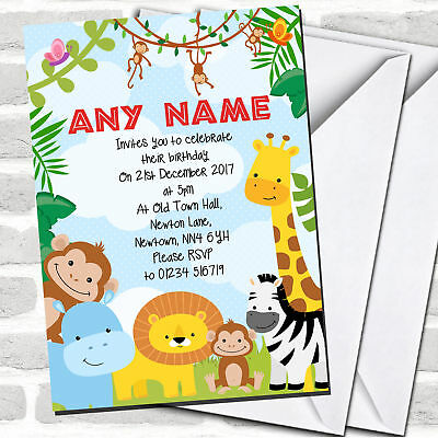 Bright Safari Jungle Animals Children S Birthday Party Invitations Ebay