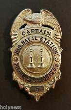 ANTIQUE METAL CAPTAIN BADGE / US NAVAL STATION / FIRE DEPT SJ PUERTO RICO 1930's