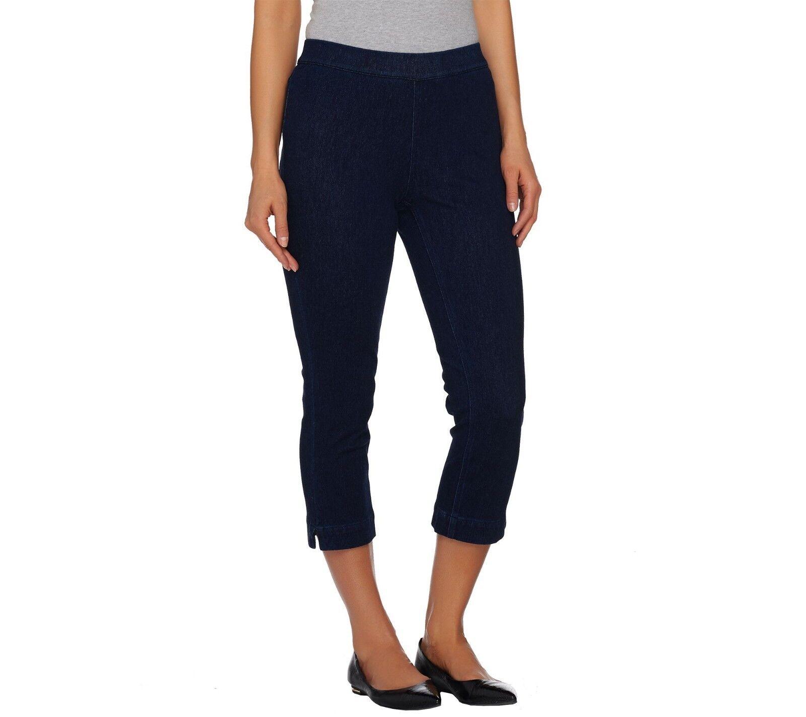 Isaac Mizrahi Petite Knit Denim Pull-on Crop Jeans Pant Dark Indigo 18WP Sz QVC