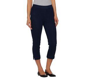 Isaac-Mizrahi-Petite-Knit-Denim-Pull-on-Crop-Jeans-Pant-Dark-Indigo-18WP-Sz-QVC