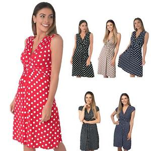 Womens-Polka-Dot-Retro-Dress-Pleated-Skirt-Wrap-Mini-V-Neck-Top-Swing-Party