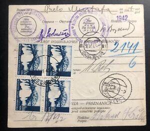 1942-Gradiska-Croatia-Germany-State-Parcel-Receipt-Cover-To-Sarajevo