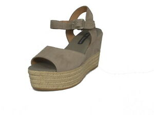 SANDALI FRAU DONNA ZEPPA IN CAMOSCIO 81A0 TAUPE MADE IN ITALY SHOES