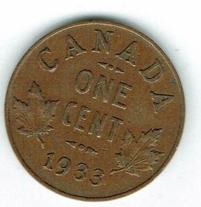1933-Canadian-Circulated-George-V-One-Small-Cent-coin