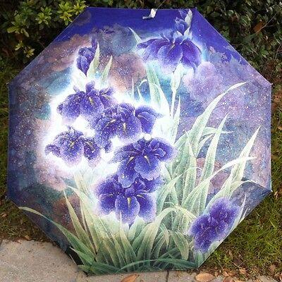 New folding Anti uv Orchid Oil Painting Windproof lady women Rain Umbrella