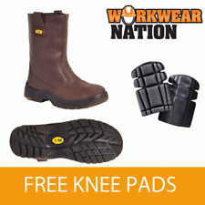 Big Man Bm717sm Brown Leather Safety Rigger Work Boot Free Knee Pads