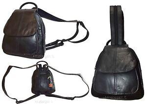6850efbae2 Image is loading Women-039-s-Mini-Leather-backpack-Knapsack-Black-