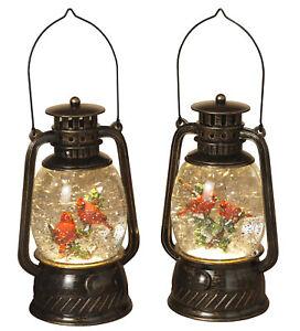Bronze Christmas Winter Spinning Glitter Water Snow Globe Hurricane Lanterns Set