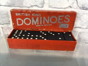 Vintage-British-King-Dominoes-Made-In-England-Full-Set-Good-condition-For-Age