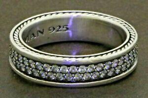 David-Yurman-Sterling-silver-1-76CTW-topaz-men-039-s-eternity-band-ring-size-11-25